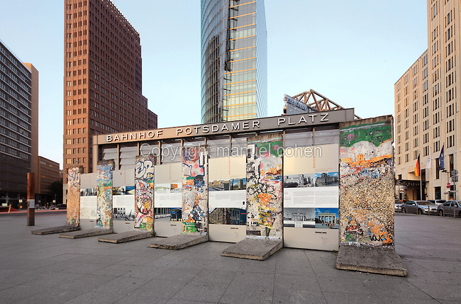 Sections of the Berlin Wall with information panels outside the entrance to the train station at Potsdamer Platz, Berlin, Germany. Picture by Manuel Cohen