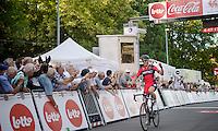 winner Greg Van Avermaet (BEL/BMC) crosses the finish line<br /> <br /> Grand Prix de Wallonie 2014