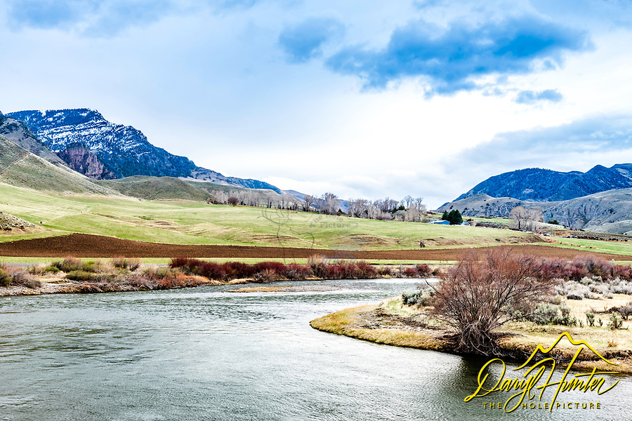 A lucky ranch makes his living on this beautiful bend of the Salmon River near Challis Idaho