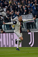 6th January 2020; Allianz Stadium, Turin, Italy; Serie A Football, Juventus versus Cagliari; Cristiano Ronaldo of Juventus celebrates after scoring the goal for 1-0 for Juventus in the 49th minute - Editorial Use