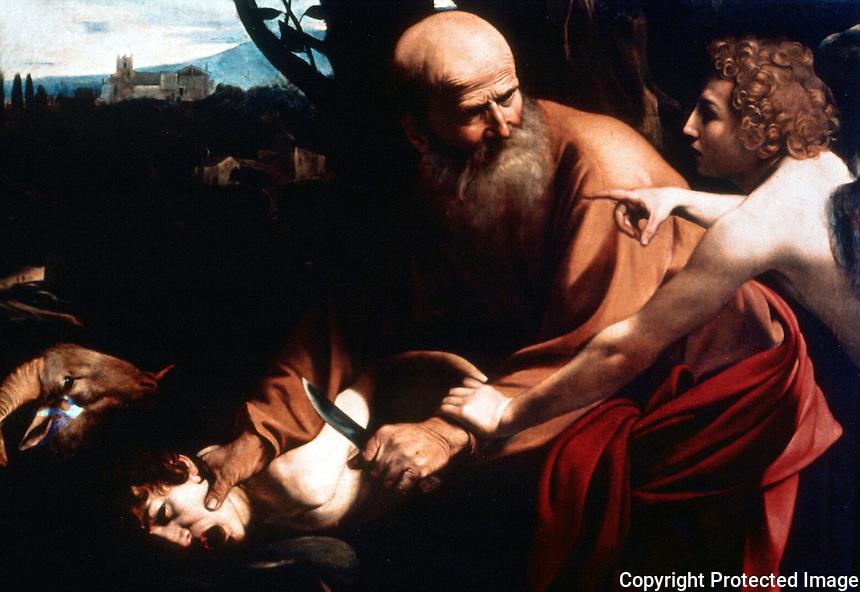 Renaissance Art:  Caravaggio--Sacrifice of Abramo.  Galleria Uffizi.
