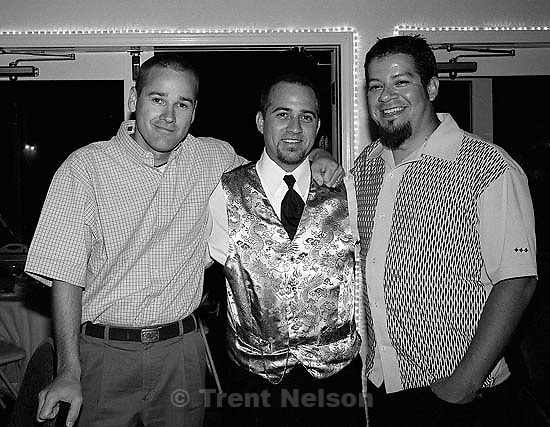 Trent Nelson, Joey Vela, Aaron Salas at Joey Vela and Lisa Cahill's wedding.<br />