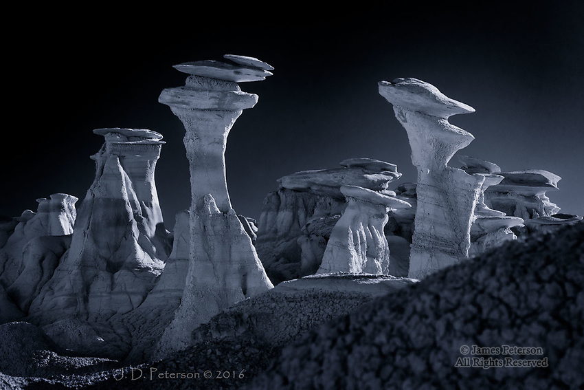 Nest of Hoodoos, Bisti Badlands, New Mexico  ©2016 James D Peterson.  Mother Earth creates a haunting embodiment of her inner moods in this eerie landscape.