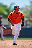 GCL Orioles catcher Jean Carrillo (36) running the bases during a game against the GCL Twins on August 11, 2016 at the Ed Smith Stadium in Sarasota, Florida.  GCL Twins defeated GCL Orioles 4-3.  (Mike Janes/Four Seam Images)