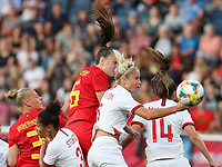 20190829 - LEUVEN , BELGIUM : Belgium's Tine De Caigny and England's Steph Houghton are pictured during the female soccer game between the Belgian Red Flames and England , The Lionesses , a friendly womensoccer game in the preparation for the European Championship qualification round in group H for England 2021, Tuesday 29 th August 2019 at the King Power Stadion Den Dreef in Leuven , Belgium. PHOTO SPORTPIX.BE | SEVIL OKTEM