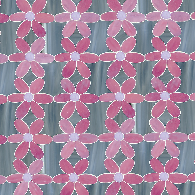 Daisies, a waterjet jewel glass mosaic, shown in Rose Quartz, Rhodolite, and Labradorite, is part of the Erin Adams Collection for New Ravenna.