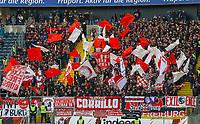Fans des SC Freiburg - 19.01.2019: Eintracht Frankfurt vs. SC Freiburg, Commerzbank Arena, 18. Spieltag Bundesliga, DISCLAIMER: DFL regulations prohibit any use of photographs as image sequences and/or quasi-video.