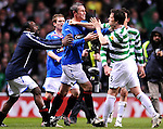 16TH APR 2008, CELTIC V RANGERS, CELTIC PARK, GLASGOW, DAVID WEIR AND GARY CALDWELL BRAWL AT THE END OF THE GAME, ROB CASEY PHOTOGRAPHY.