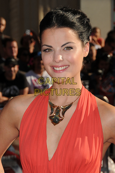 "Jaimie Alexander.Premiere of ""Captain America: The First Avenger"" held at The El Capitan Theatre in Hollywood, California, USA..July 19th, 2011.headshot portrait gold necklace pink coral smiling .CAP/ADM/BP.©Byron Purvis/AdMedia/Capital Pictures."