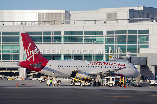 A side view of an Virgin America Boeing 737 airplane. San Francisco, California, USA