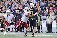 Annapolis, MD - December 27, 2016: Temple Owls linebacker Jarred Alwan (41) sacks Wake Forest Demon Deacons quarterback John Wolford (10) during game between Temple and Wake Forest at  Navy-Marine Corps Memorial Stadium in Annapolis, MD.   (Photo by Elliott Brown/Media Images International)