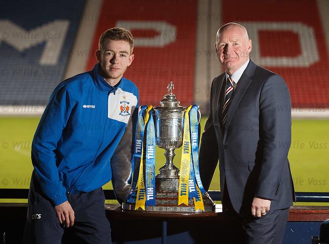 Stuart Findlay of Kilmarnock with Rangers ambassador John Brown