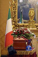 Roma, 29 Settembre 2015<br /> Camera ardente a Montecitorio per Pietro Ingrao.<br /> Gli operai delle Acciaierie di Terni posano accanto alla bara caschetti da lavoro.