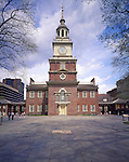 Independence Hall, Independence National Historical Park, Philadelphia, PA, USA where the Declaration of Independence was adopted and the US Constitution was drafted. Site of Second Continental Congress beginning on May 10, 1775.