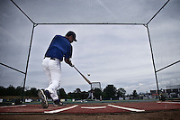 25 july 2010: Boris Marche is seen in the batting cage prior to France 6-1 victory over Czech Republic, in day 3 of the 2010 European Championship Seniors, in Neuenburg, Germany.