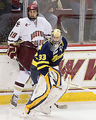 Chris Kreider (BC - 19), Andrew Brathwaite (Merrimack - 33) - The Boston College Eagles defeated the Merrimack College Warriors 7-0 on Tuesday, February 23, 2010 at Conte Forum in Chestnut Hill, Massachusetts.
