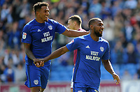 CELE - Cardiff City's Junior Hoilett celebrates scoring his sides second goal <br /> <br /> Photographer Ashley Crowden/CameraSport<br /> <br /> The EFL Sky Bet Championship - Cardiff City v Aston Villa - Saturday August 12th 2017 - Cardiff City Stadium - Cardiff<br /> <br /> World Copyright &copy; 2017 CameraSport. All rights reserved. 43 Linden Ave. Countesthorpe. Leicester. England. LE8 5PG - Tel: +44 (0) 116 277 4147 - admin@camerasport.com - www.camerasport.com