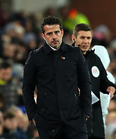 29th October 2019; Goodison Park, Liverpool, Merseyside, England; English Football League Cup, Carabao Cup Football, Everton versus Watford; Everton Manager Marco Silva follows the action from the touchline during the first half - Strictly Editorial Use Only. No use with unauthorized audio, video, data, fixture lists, club/league logos or 'live' services. Online in-match use limited to 120 images, no video emulation. No use in betting, games or single club/league/player publications