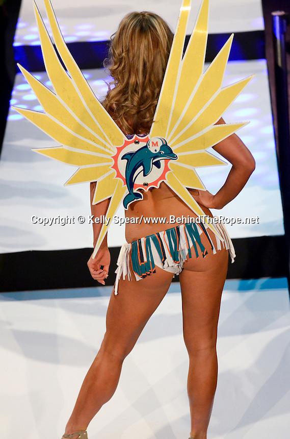 Miami Dolphins Cheerleader, Nikki, walks runway at Miami Dolphins Cheerleaders 2013 Swimsuit Calendar Unveiling Fashion Show at LIV Nightclub in The Fontainebleau Miami Beach Hotel, Miami Beach, FL on August 26, 2012