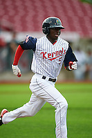 Cedar Rapids Kernels shortstop Nick Gordon (5) runs to first during a game against the Kane County Cougars on August 18, 2015 at Perfect Game Field in Cedar Rapids, Iowa.  Kane County defeated Cedar Rapids 1-0.  (Mike Janes/Four Seam Images)