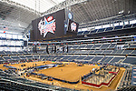 The AT&T Stadium floor gets covered in dirt for the Iron Cowboy V event at the AT & T stadium in Arlington, Texas.