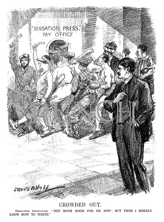 "Crowded Out. Disgusted Journalist. ""Not much room for me now; but then I merely know how to write."" (an InterWar cartoon shows sportsmen, an airwoman and a Peer queuing at the Sensation Press - Pay Office holding payment while a journalist looks on)"