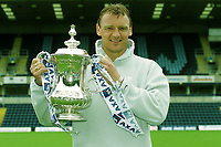 Wycombe Wanderers striker, Andy Rammell. formerly of Manchester United, Barnsley and Walsall, holds the FA Cup ahead of the semi-final against Liverpool at the weekend during a Press Conference at Adams Park (ahead of the FA Cup Semi-Final between Wycombe & Liverpool) on 6th April 2001