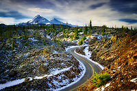 Old McKenzie Highway 242 with first snowfall of season. Central Oregon