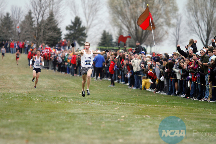 19 NOV 2011:  Ben Sathre of St. Thomas University races towards the finish line during the Division III Men's Cross Country Championship held at the Lake Breeze Golf Club in Winneconne, WI.  Sathre won the individual national title with a 23:44.27 time.  Al Fredrickson/NCAA Photos