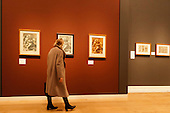 """Pictured: Chiaroscuro woodcuts by Ugo da Carpi (c. 1501-1532). Press preview of the exhibition """"Renaissance Impressions: Chiaroscuro Woodcuts from the Collections of Georg Baselitz and the Albertina, Vienna"""", opens at the Royal Academy of Art on 15 March 2014. The exhibition at the Sackler Wing of Galleries runs from 15 March to 8 June 2014 and presents over 150 rare prints by the chief practitioners of the Chiaroscuro woodcutting technique in Germany, Italy and the Netherlands held at the Albertina Museum in Vienna and in the personal collection of the Honorary Royal Academian Georg Baselitz."""