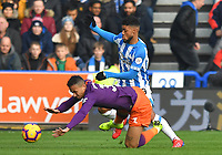 Manchester City's Danilo battles with Huddersfield Town's Elias Kachunga<br /> <br /> Photographer Dave Howarth/CameraSport<br /> <br /> The Premier League - Huddersfield Town v Manchester City - Sunday 20th January 2019 - John Smith's Stadium - Huddersfield<br /> <br /> World Copyright © 2019 CameraSport. All rights reserved. 43 Linden Ave. Countesthorpe. Leicester. England. LE8 5PG - Tel: +44 (0) 116 277 4147 - admin@camerasport.com - www.camerasport.com