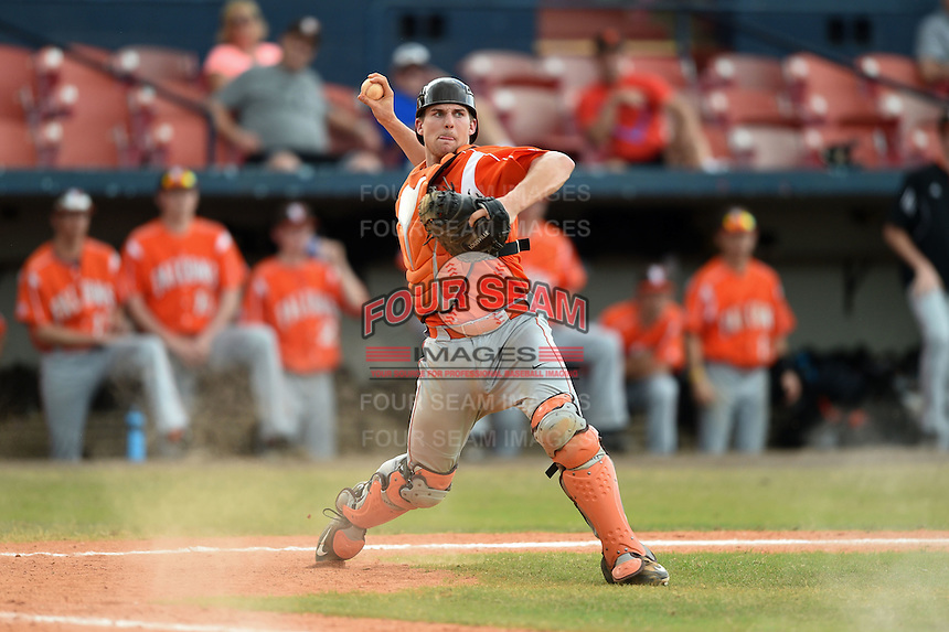 Bowling Green Falcons catcher Trey Keegan (1) during a game against the Illinois State Redbirds on March 11, 2015 at Chain of Lakes Stadium in Winter Haven, Florida.  Illinois State defeated Bowling Green 8-7.  (Mike Janes/Four Seam Images)