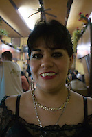 Portrai of waitress Sonia at Cantina El Jarrito. Photos from night bike ride in Mexico City's historic center with Luis Mdahuar and Mike Smith. Mexico DF, Tuesday May 1, 2007