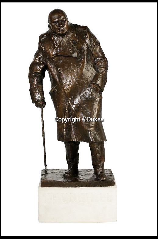 BNPS.co.uk (01202 558833)<br /> Pic: Dukes/BNPS<br /> <br /> A bronze maquette of Sir Winston Churchill for the monument in Parliament Square, estimated £50,000.<br /> <br /> The collection of an influential politician who helped bring Thatcher to power is going under the hammer and expected to fetch more than £86,000.<br /> <br /> More than 100 items owned by the late Sir Edward du Cann, including a rare maquette of Winston Churchill worth £50,000, have been put up for sale by his family with Duke's of Dorchester in Dorset following his death last year.<br /> <br /> Sir Edward was an MP for 31 years and the longest serving chairman of the powerful 1922 committee, where he was instrumental in bringing Margaret Thatcher to power in 1979, and his name was never far from the front pages of the national newspapers in the 1960s and 70s.<br /> <br /> Among the items being sold are several bronze sculptures of Prime Ministers Winston Churchill, Margaret Thatcher and Clement Atlee.<br /> <br /> The collection will be sold in the Dorchester saleroom on September 6.
