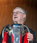 Wales's national rugby team who won both the Six Nations and the Grand Slam are welcomed to the National Assembly for Wales Senedd building in Cardiff Bay today for a public celebration event.<br />First Minister for Wales Mark Drakeford holds the Six Nations Trophy.