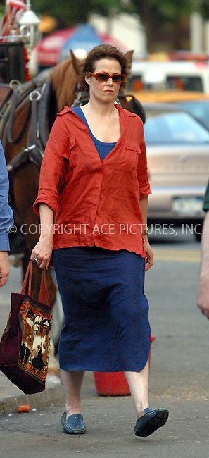 *** EXCLUSIVE ***..Actress Sigourney Weaver taking a stroll near Central Park in New York. Dressed in red linen blouse, blue linen skirt and blue moccasins, Weaver enjoyed walking out and about practically unrecognized. The only creature that sensed some  'Alien' presence was the horse. New York, July 16, 2003. Please byline: NY Photo Press.   ..*PAY-PER-USE*      ....NY Photo Press:  ..phone (646) 267-6913;   ..e-mail: info@nyphotopress.com