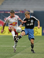 New York Red Bulls' Claudio Reyna (10) battles San Jose Earthquakes' Ronnie O'Brien (7) for the ball in the first half of an MLS soccer match at Giants Stadium in East Rutherford, N.J. on Sunday, April 27, 2008. The Red Bulls defeated the Earthquakes 2-0.