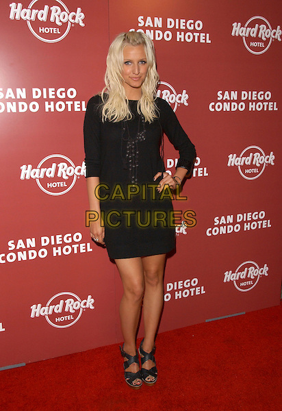"ASHLEE SIMPSON.The Hard Rock Hotel San Diego Sales Launch Party held at ""On Broadway"" in San Diego, California .February 16th, 2006.Ref: DVS.full length black dress hand on hip.www.capitalpictures.com.sales@capitalpictures.com.Supplied By Capital PIctures"