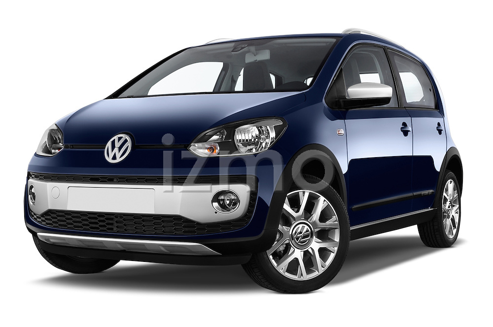 Stock pictures of low aggressive front three quarter view of a 2014 Volkswagen up! Cross up! 5 Door Hatchback 2WD Low Aggressive