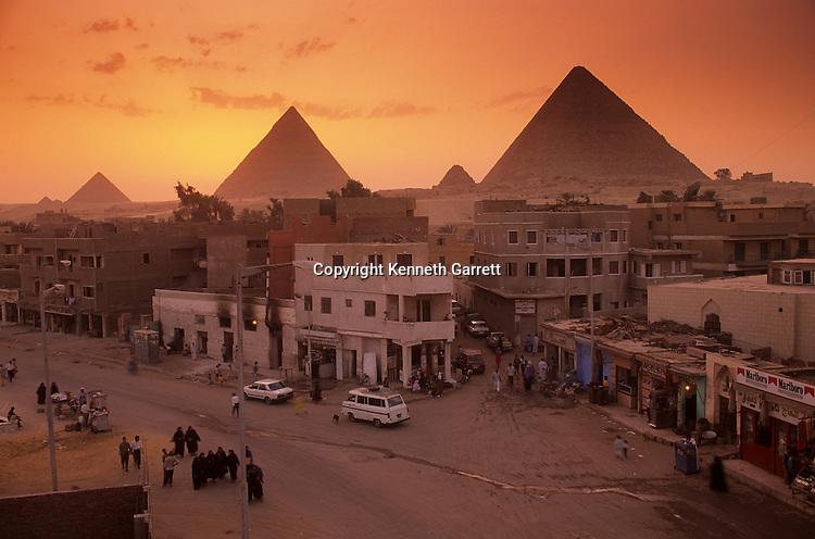 Egypt's Old Kingdom,City scenic with pyramids, Giza Plateau, Egypt
