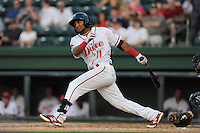 Second baseman Wendell Rijo (11) of the Greenville Drive in a game against the Augusta GreenJackets on Friday, May 23, 2014, at Fluor Field at the West End in Greenville, South Carolina. (Tom Priddy/Four Seam Images)