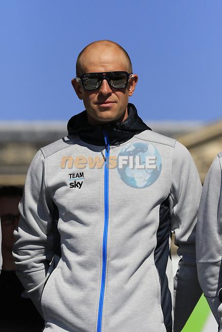 Ian Stannard (GBR) Team Sky at the Team Presentation for the upcoming 115th edition of the Paris-Roubaix 2017 race held in Compiegne, France. 8th April 2017.<br /> Picture: Eoin Clarke | Cyclefile<br /> <br /> <br /> All photos usage must carry mandatory copyright credit (&copy; Cyclefile | Eoin Clarke)
