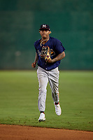 Mississippi Braves outfielder Cristian Pache (16) during a Southern League game against the Jackson Generals on July 23, 2019 at The Ballpark at Jackson in Jackson, Tennessee.  Mississippi defeated Jackson 1-0 in the second game of a doubleheader.  (Mike Janes/Four Seam Images)