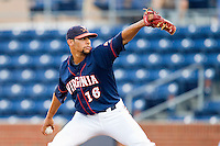 Virginia Cavaliers starting pitcher Branden Kline #16 in action against the Duke Blue Devils at Durham Bulls Athletic Park on April 20, 2012 in Durham, North Carolina.  The Blue Devils defeated the Cavaliers 6-3.  (Brian Westerholt/Four Seam Images)