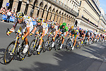 George Hincapie, Mark Renshaw and Mark Cavendish of Team Columbia HTC lead Thor Hushovd of Cervelo Test Team, on the final sprint, won on the Champs Elysees by Mark Cavendish, at 2009 Tour de France on Rue de Rivoli in Paris