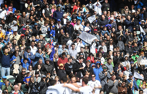 12.11.2016. Auckland, New Zealand.  Fans celebrate Marco Rojas' first goal. New Zealand All Whites versus New Caledonia. Oceania Football Confederation stage 3 qualifier match for the FIFA World Cup in Russia 2018. QBE Stadium, Auckland, New Zealand.