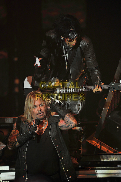 LONDON, ENGLAND - NOVEMBER 6: Vince Neil and Nikki Sixx of 'M&ouml;tley Cr&uuml;e' performing at SSE Arena Wembley on November 6, 2015 in London, England.<br /> CAP/MAR<br /> &copy; Martin Harris/Capital Pictures