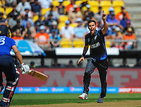 Trent Boult appeals during the ICC Cricket World Cup one day pool match between the New Zealand Black Caps and England at Wellington Regional Stadium, Wellington, New Zealand on Friday, 20 February 2015. Photo: Dave Lintott / lintottphoto.co.nz