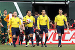 20 June 2015: Match officials. From left: Assistant Referee Mike Kampmeinert, Referee Baldomero Toledo, Fourth Official Alejandro Mariscal, and Assistant Referee Ian Anderson. The Portland Timbers FC hosted the Houston Dynamo at Providence Park in Portland, Oregon in a Major League Soccer 2015 regular season match. Portland won the game 2-0.