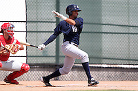 New York  Yankees outfielder Mason Williams #28 at bat during a minor league spring training game against the Philadelphia Phillies at the Carpenter Complex on March 22, 2012 in Clearwater, Florida.  (Mike Janes/Four Seam Images)
